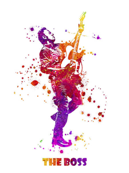 Blob Painting - Bruce Springsteen The Boss Watercolor Splatter 08 by JESP Art and Decor