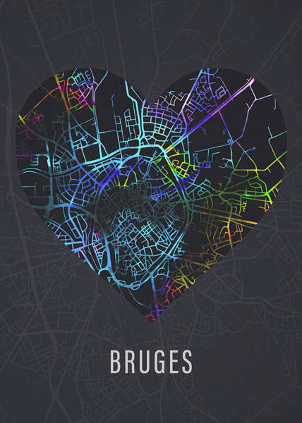Belgium Mixed Media - Bruges Belgium City Heart Street Map Love Dark Mode by Design Turnpike