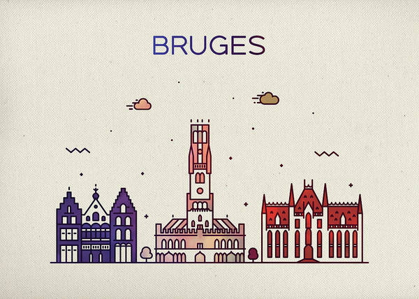 Belgium Mixed Media - Bruges Belgium City Skyline Fun Whimsical Series Wide Bright by Design Turnpike