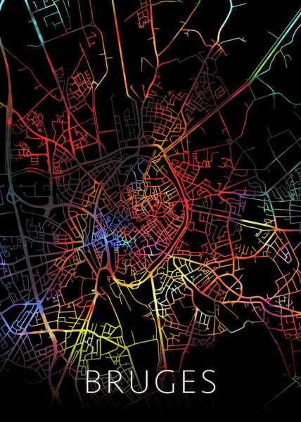 Belgium Mixed Media - Bruges Belgium City Street Map Watercolor Dark Mode by Design Turnpike