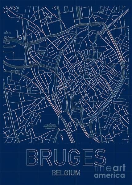 Digital Art - Bruges Blueprint City Map by Helge