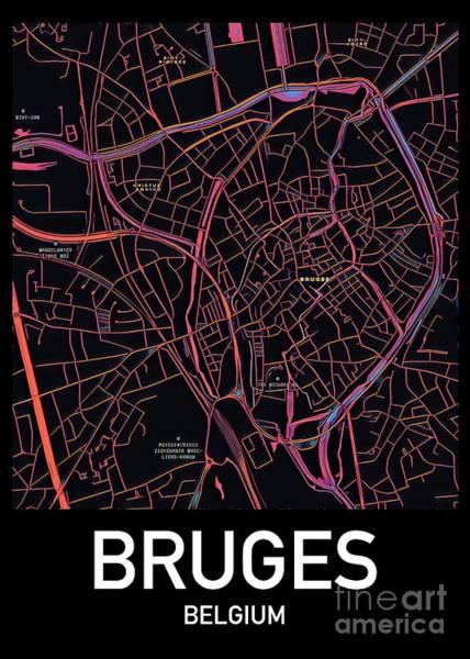 Digital Art - Bruges City Map by Helge