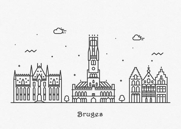 Landmark Center Drawing - Bruges Cityscape Travel Poster by Inspirowl Design