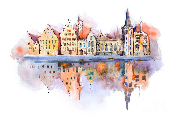 Wall Art - Digital Art - Bruges Cityscape Watercolor Drawing by Undrey