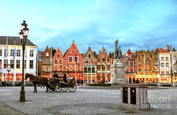 Wall Art - Photograph - Bruges Market Square At Night by John Rizzuto