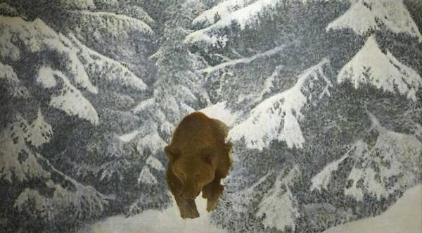 Wall Art - Painting - Bruno Liljefors 1860-1939 Bear In Winter Landscape by Celestial Images