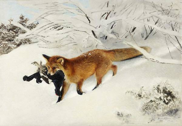 Wall Art - Painting - Bruno Liljefors 1860-1939 Fox In Snow Landscape by Bruno Liljefors