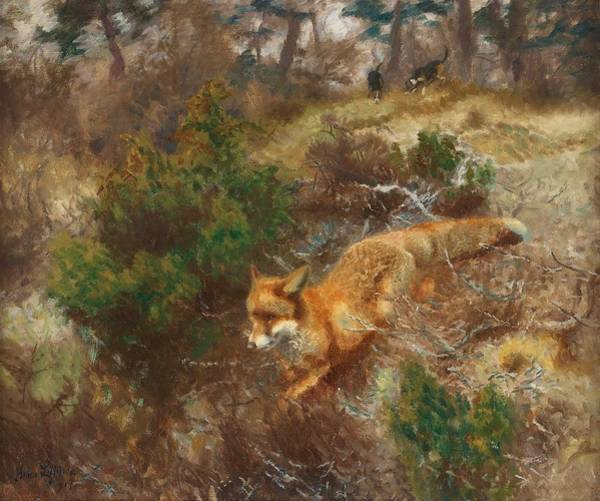 Wall Art - Painting - Bruno Liljefors, Fox And Hounds by Bruno Liljefors