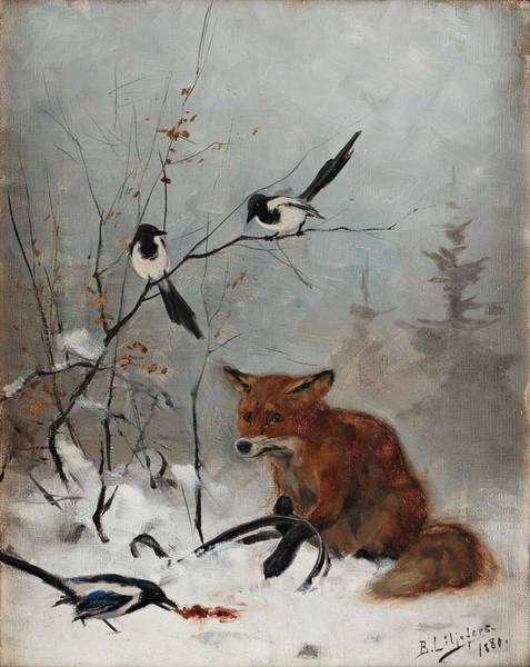 Wall Art - Painting - Bruno Liljefors, Trapped Fox by Bruno Liljefors