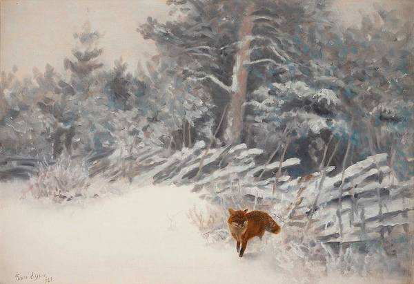 Wall Art - Painting - Bruno Liljefors, Winter Landscape With Fox 2 by Bruno Liljefors