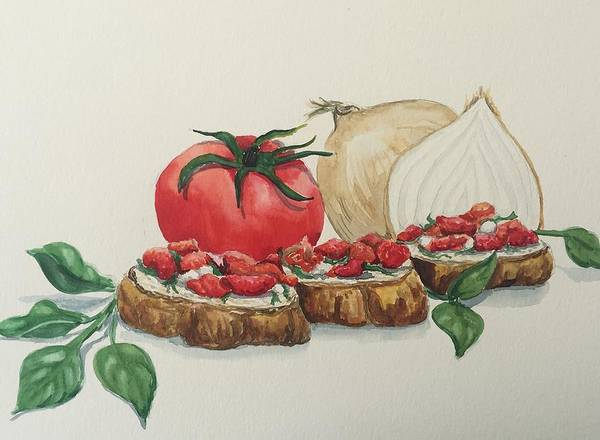 Wall Art - Painting - Bruschetta by Janice Cook