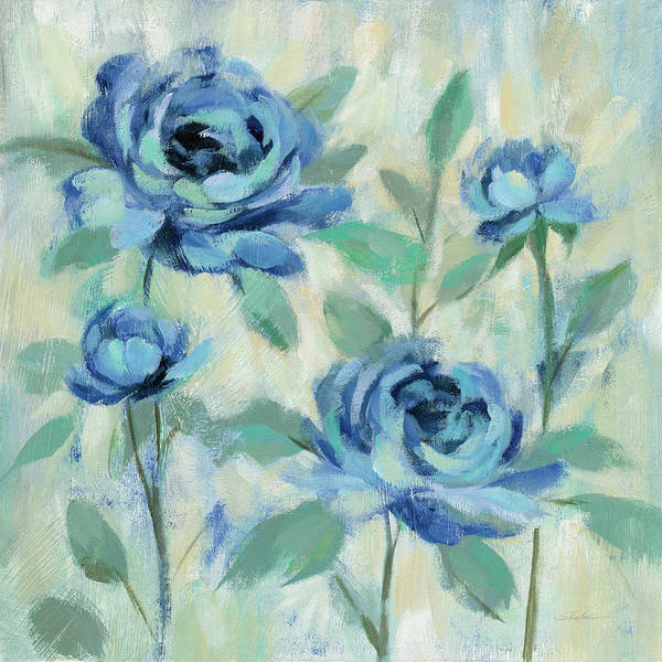 Wall Art - Painting - Brushy Blue Flowers I by Silvia Vassileva