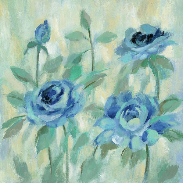 Wall Art - Painting - Brushy Blue Flowers II by Silvia Vassileva