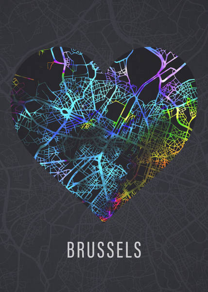 Belgium Mixed Media - Brussels Belgium City Heart Street Map Love Dark Mode by Design Turnpike