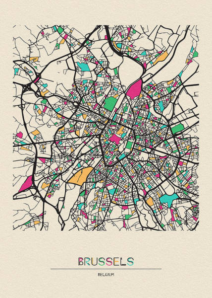 Wall Art - Drawing - Brussels, Belgium City Map by Inspirowl Design