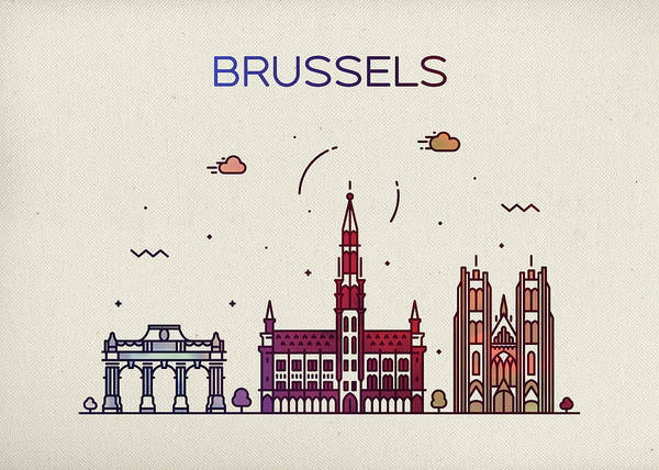 Belgium Mixed Media - Brussels Belgium City Skyline Fun Whimsical Series Wide Bright by Design Turnpike