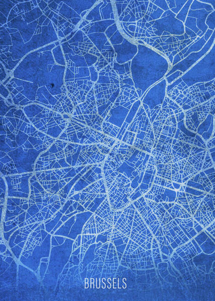 Belgium Mixed Media - Brussels Belgium City Street Map Blueprints by Design Turnpike