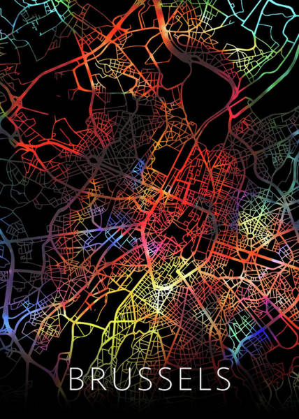 Belgium Mixed Media - Brussels Belgium City Street Map Watercolor Dark Mode by Design Turnpike