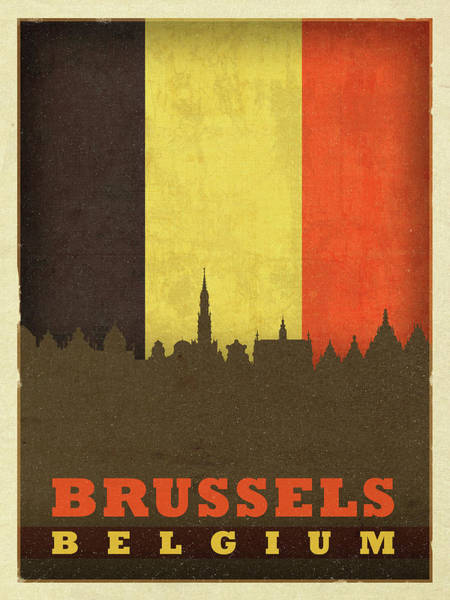 Belgium Mixed Media - Brussels Belgium World City Flag Skyline by Design Turnpike