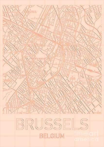 Digital Art - Brussels Blueprint City Map by Helge