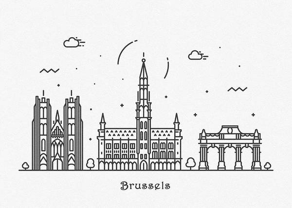 Landmark Center Drawing - Brussels Cityscape Travel Poster by Inspirowl Design