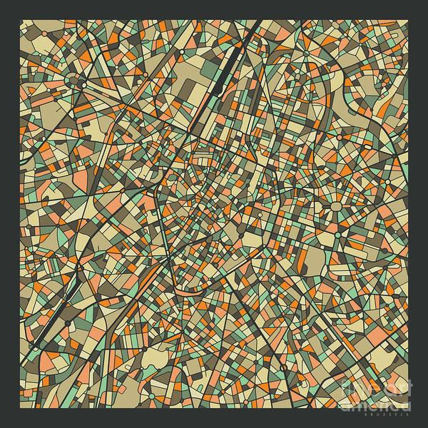 Belgium Wall Art - Digital Art - Brussels Map 2 by Jazzberry Blue