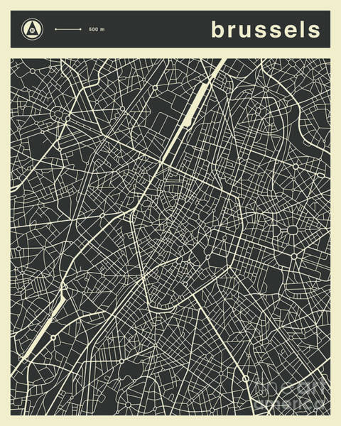 Wall Art - Digital Art - Brussels Map 3 by Jazzberry Blue