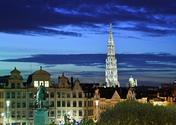 Belgian Culture Photograph - Brussels Skyline At Dusk With Town Hall by Sir Francis Canker Photography