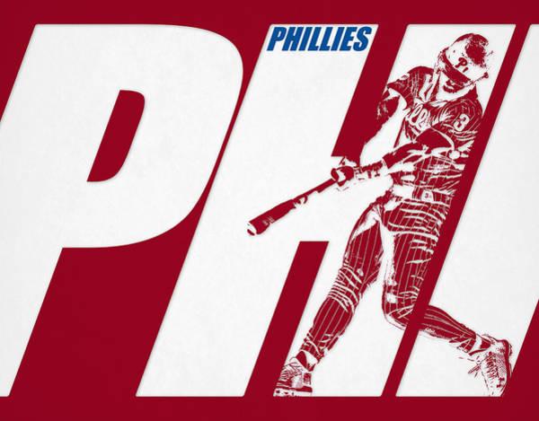 Wall Art - Mixed Media - Bryce Harper Philadelphia Phillies City Art by Joe Hamilton