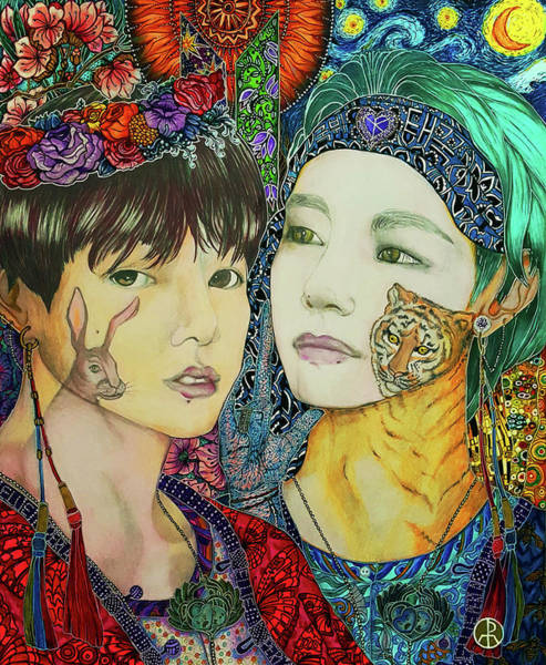 Painting - B T S Jungkook And Taehyung, Taekook by Ellie Perla