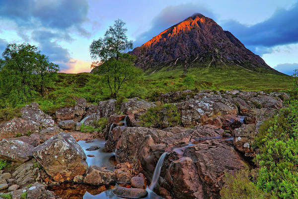 Photograph - Buachaille Etive Mor With Etive Mor Falls - Scotland - Sunrise Landscape by Jason Politte
