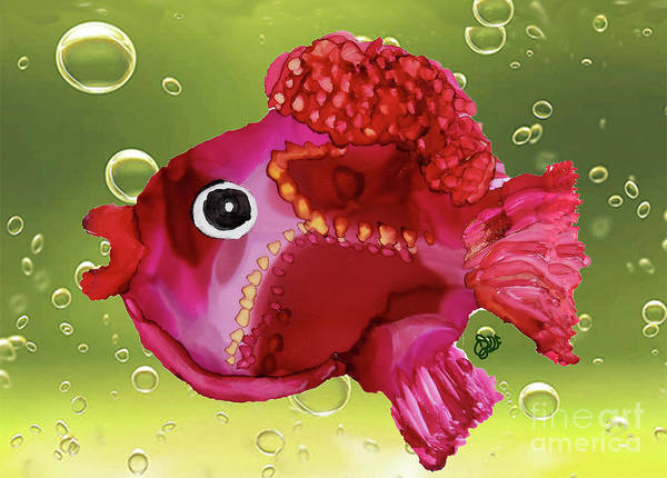 Painting - Bubbles Funky Fish by Christine Dekkers
