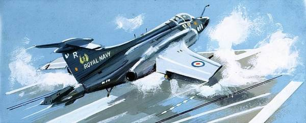 Flight Deck Painting - Buccaneer 52 Fighter by John S Smith