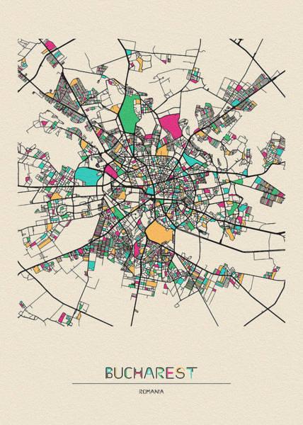 Wall Art - Drawing - Bucharest, Romania City Map by Inspirowl Design