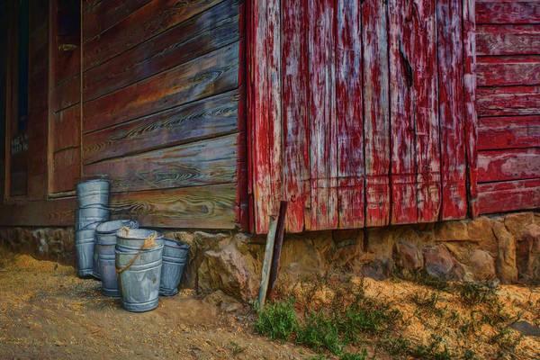 Wall Art - Photograph - Buckets By The Barn by Nikolyn McDonald