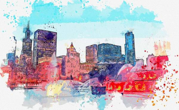 Wall Art - Painting - Buckingham Fountain, Chicago, Il, Usa -  Watercolor By Ahmet Asar by Ahmet Asar