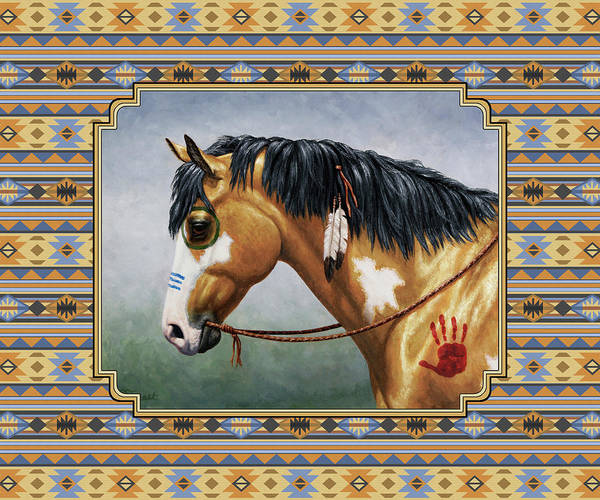 Wall Art - Painting - Buckskin Native American War Horse Southwest by Crista Forest