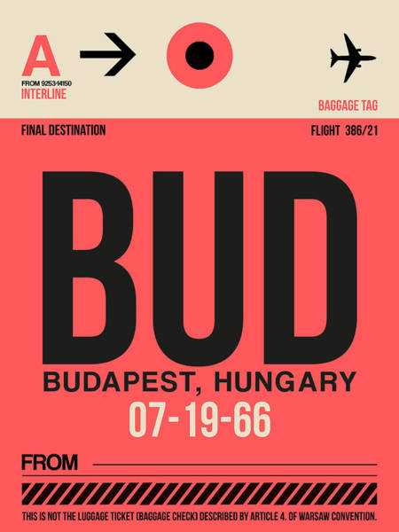 Wall Art - Digital Art - Bud Budapest Luggage Tag I by Naxart Studio