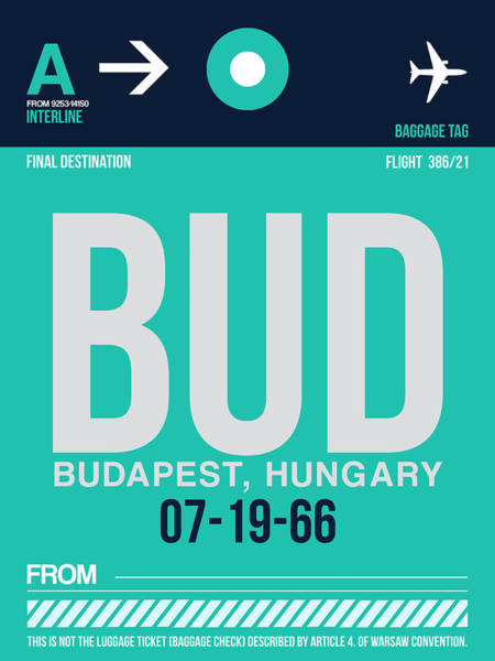 Wall Art - Digital Art - Bud Budapest Luggage Tag II by Naxart Studio