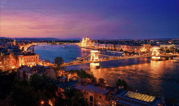 Wall Art - Photograph - Budapest And The Danube River At Night by Alexey Stiop