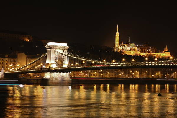 Chain Bridge Photograph - Budapest At Night by Jmartinc