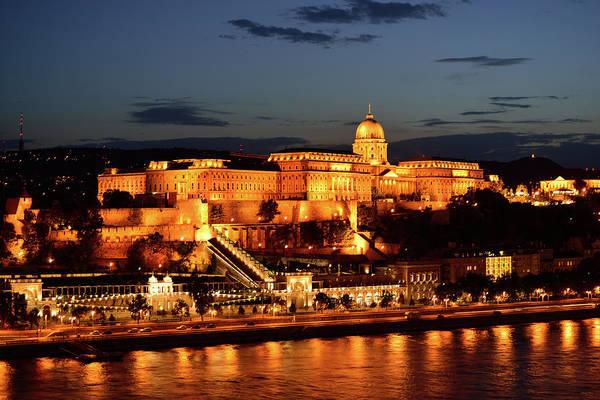 Buda Photograph - Budapest Castle At Night by Kathy Yates