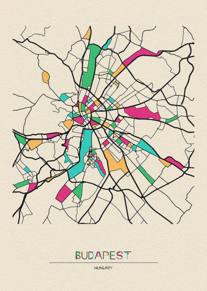 Wall Art - Drawing - Budapest, Hungary City Map by Inspirowl Design