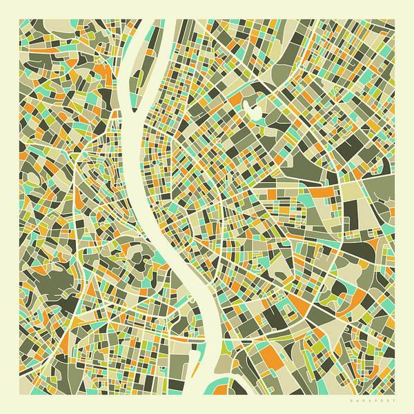 City Map Wall Art - Digital Art - Budapest Map 1 by Jazzberry Blue