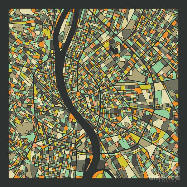 Wall Art - Digital Art - Budapest Map 2 by Jazzberry Blue