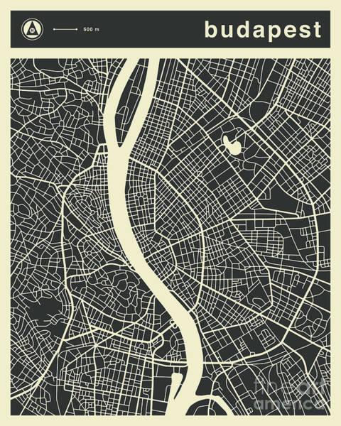 Wall Art - Digital Art - Budapest Map 3 by Jazzberry Blue