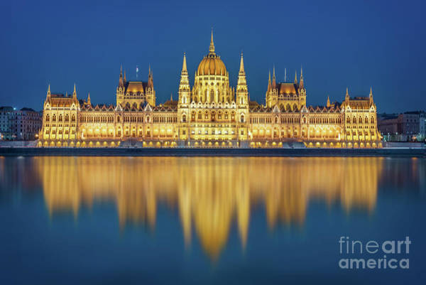 Wall Art - Photograph - Budapest Parliament At Night by Delphimages Photo Creations