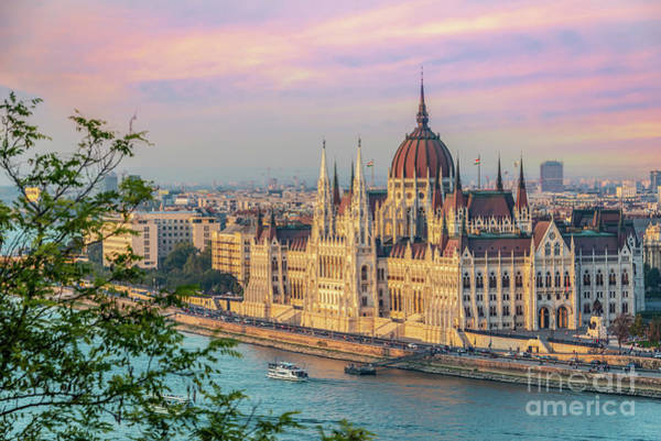 Wall Art - Photograph - Budapest Parliament At Sunset by Delphimages Photo Creations