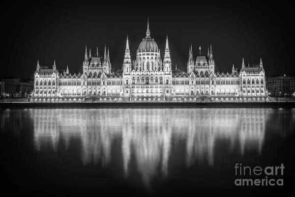Wall Art - Photograph - Budapest Parliament Black And White by Delphimages Photo Creations