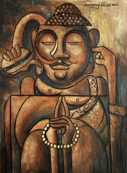 Wall Art - Painting - Buddha And A Burger by Anthony Falbo